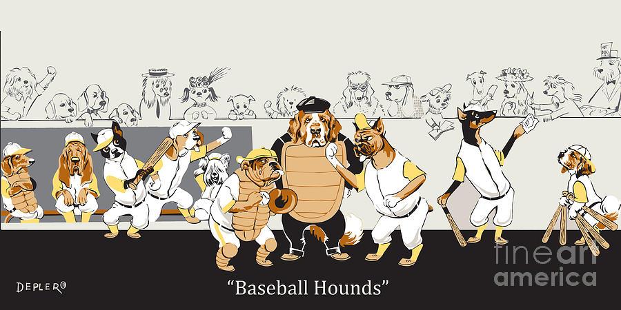 Baseball Mixed Media - Baseball Hounds by Constance Depler