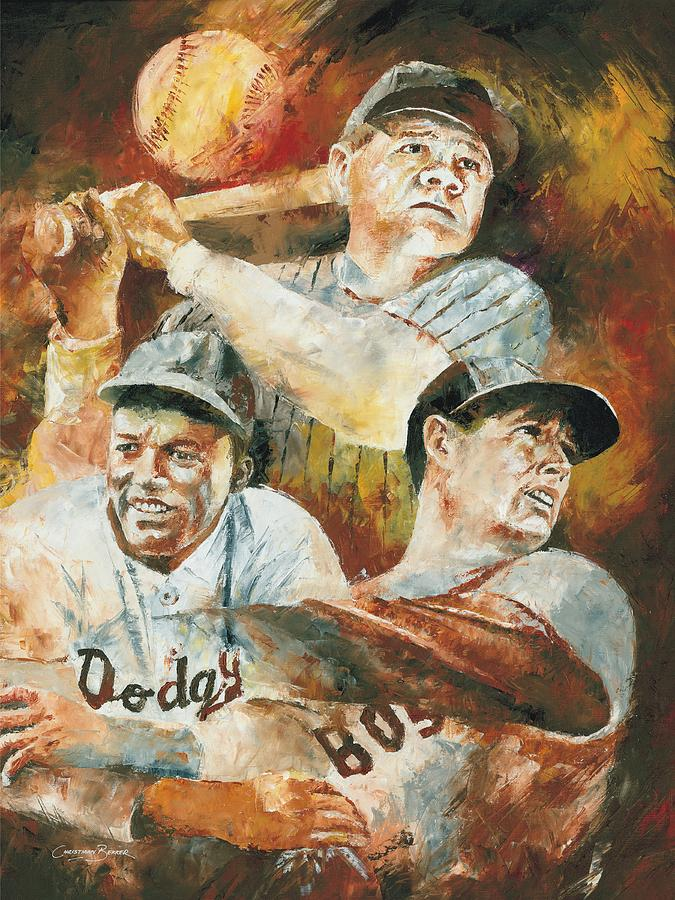 Sports Painting - Baseball Legends Babe Ruth Jackie Robinson And Ted Williams by Christiaan Bekker