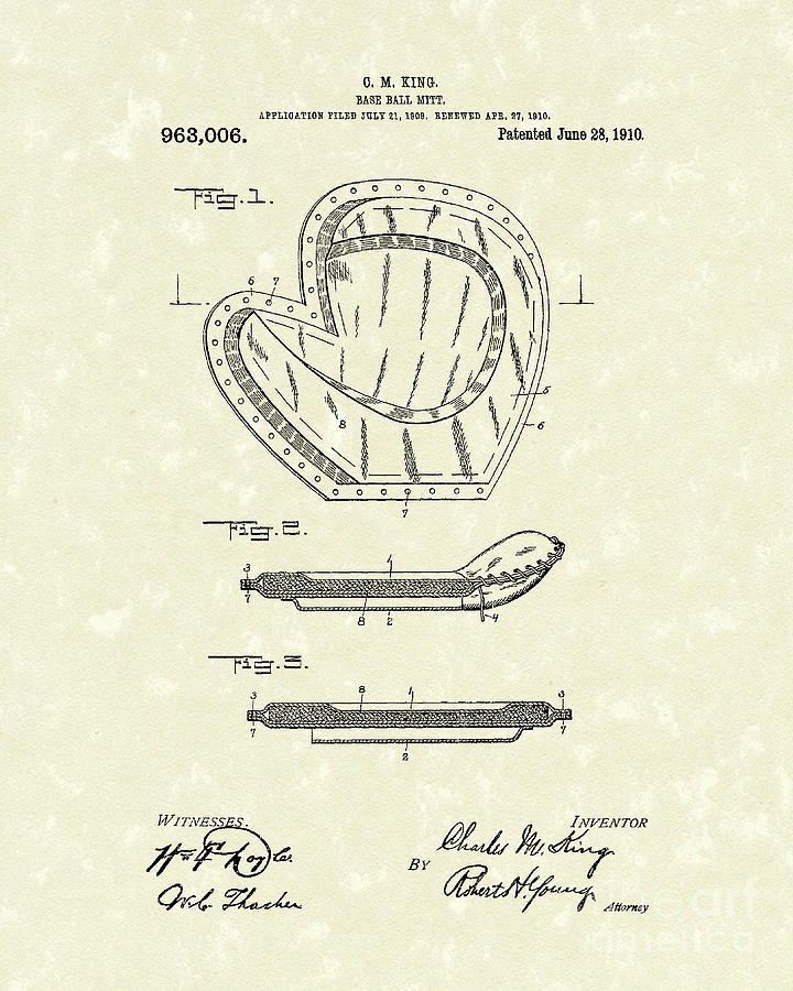 King Drawing - Baseball Mitt 1910 Patent Art by Prior Art Design