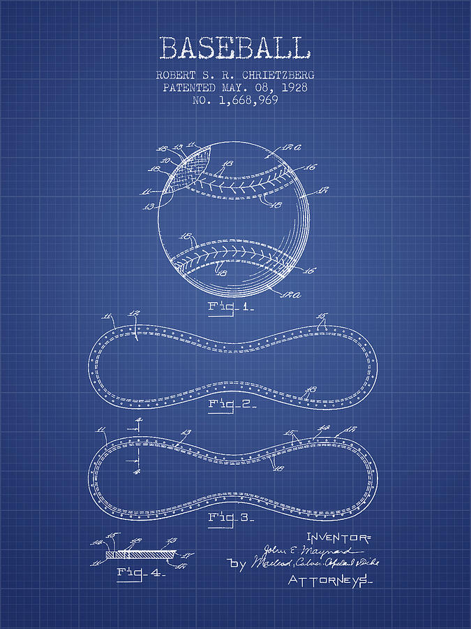 Baseball patent from 1928 blueprint drawing by aged pixel baseball drawing baseball patent from 1928 blueprint by aged pixel malvernweather Images