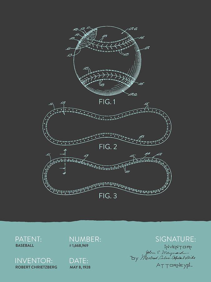 Baseball Patent From 1928 - Gray Blue Digital Art