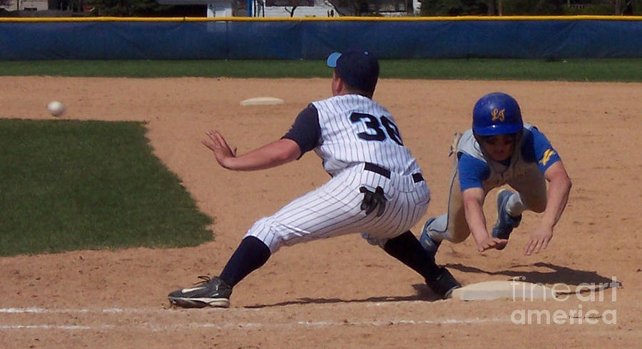 Sports Photograph - Baseball Pick Off Attempt by Thomas Woolworth