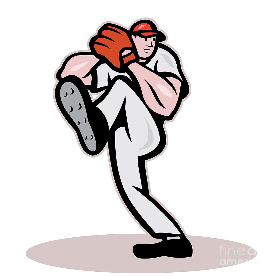 American Digital Art - Baseball Pitcher Cartoon by Aloysius Patrimonio