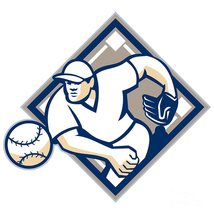 American Digital Art - Baseball Pitcher Throwing Ball Diamond by Aloysius Patrimonio