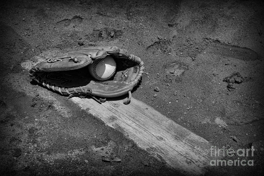 Paul Ward Photograph - Baseball Pitchers Mound In Black And White by Paul Ward