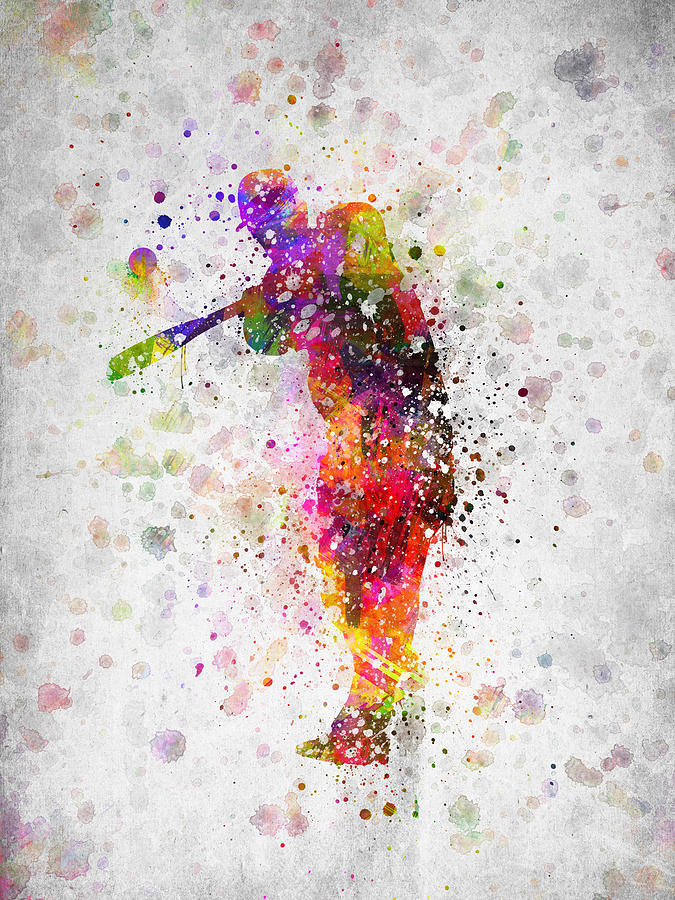 Baseball Player - Taking A Swing Digital Art