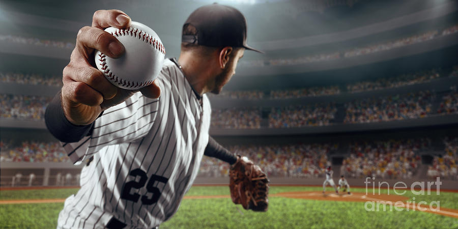 Baseball Ball Photograph - Baseball Player Throws The Ball On by Alex Kravtsov