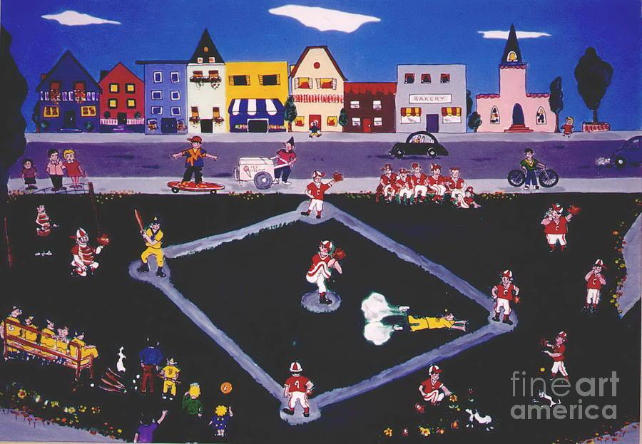 Baseball Painting - Baseball Practice by Joyce Gebauer