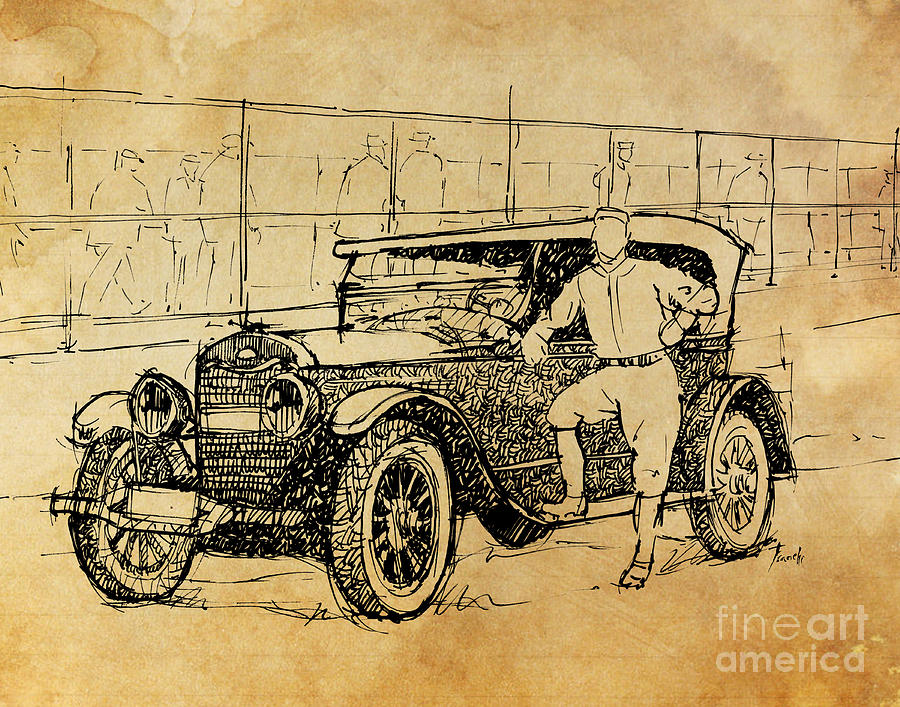 Baseball Star On A New Ford Drawing