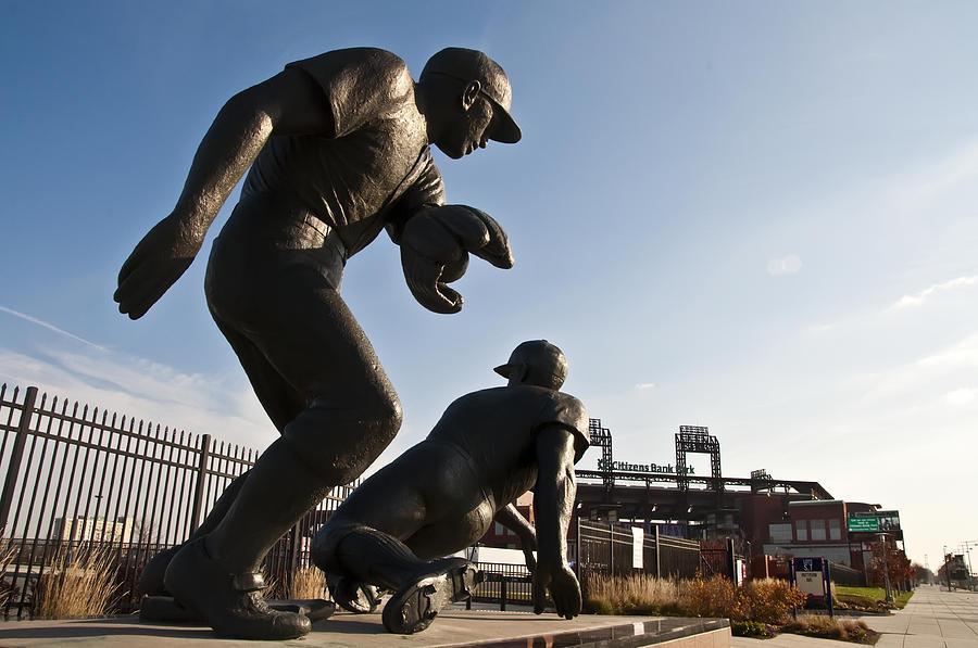 Baseball Photograph - Baseball Statue At Citizens Bank Park by Bill Cannon