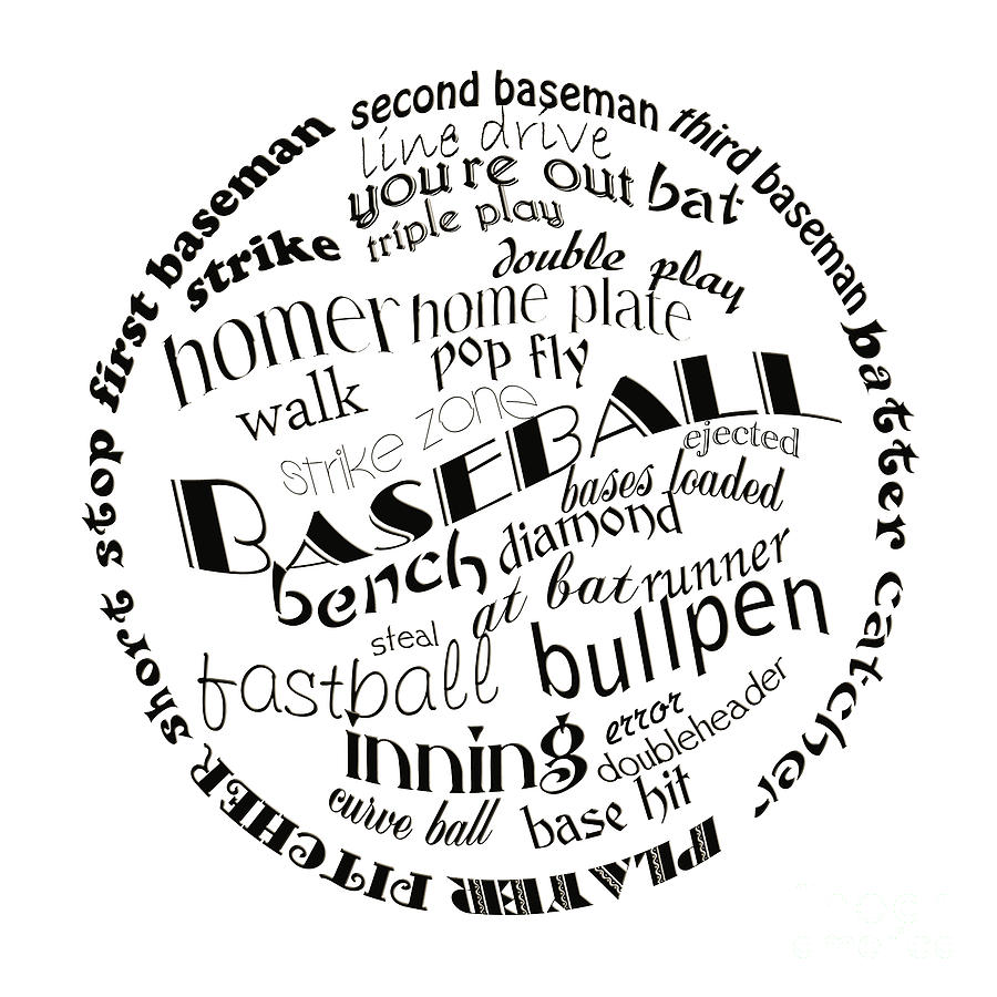 Baseball Digital Art - Baseball Terms Typography Black And White by Andee Design