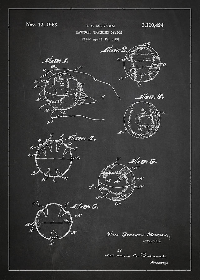 Baseball Drawing - Baseball Training Device Patent Drawing From 1961 by Aged Pixel