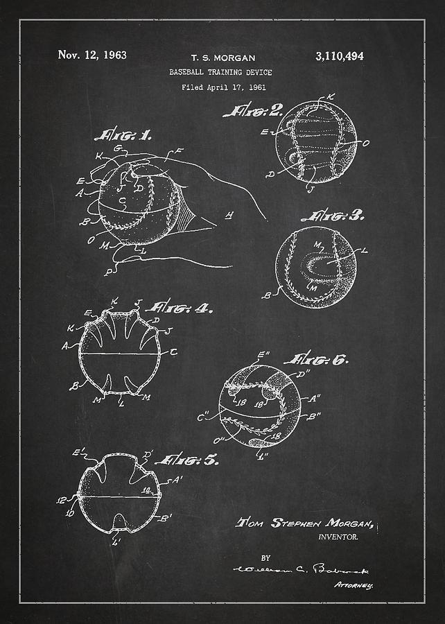 Baseball Training Device Patent Drawing From 1961 Digital Art