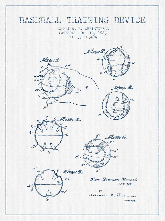 Baseball Training Device Patent Drawing From 1963 - Blue Ink Digital Art
