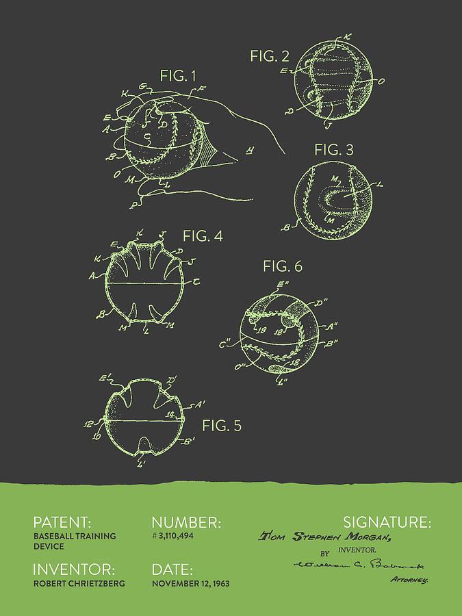 Baseball Training Device Patent From 1963 - Gray Green Digital Art