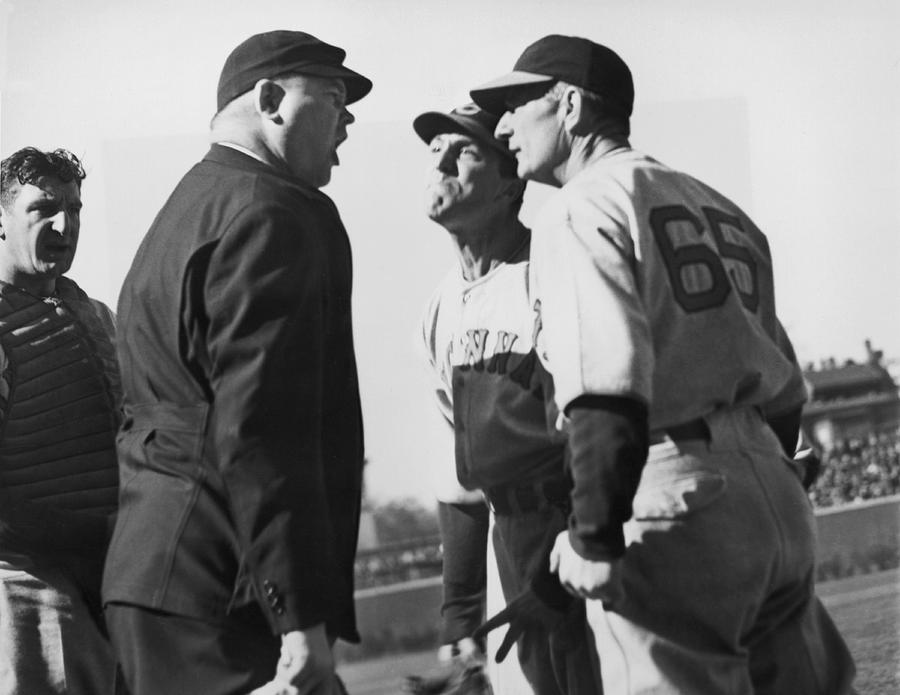 1930's Photograph - Baseball Umpire Dispute by Underwood Archives