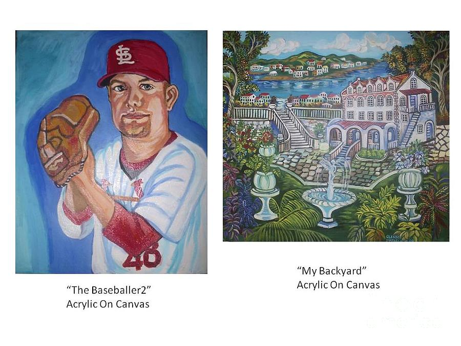 Portrait Painting - Baseballer2 And My Backyard by Glendon McFarlane