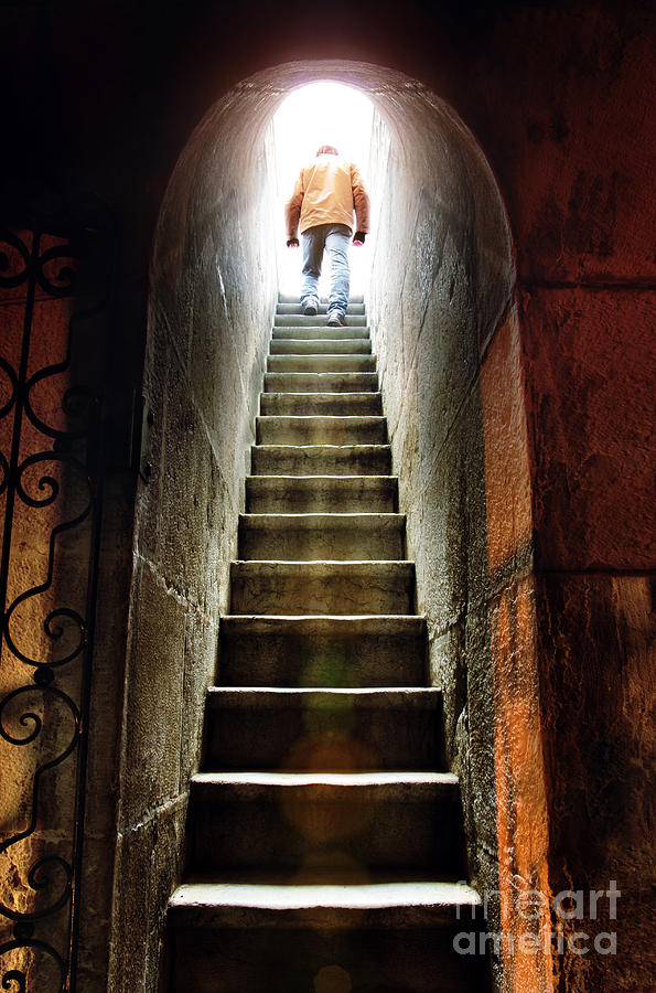 Above Photograph - Basement Exit by Carlos Caetano