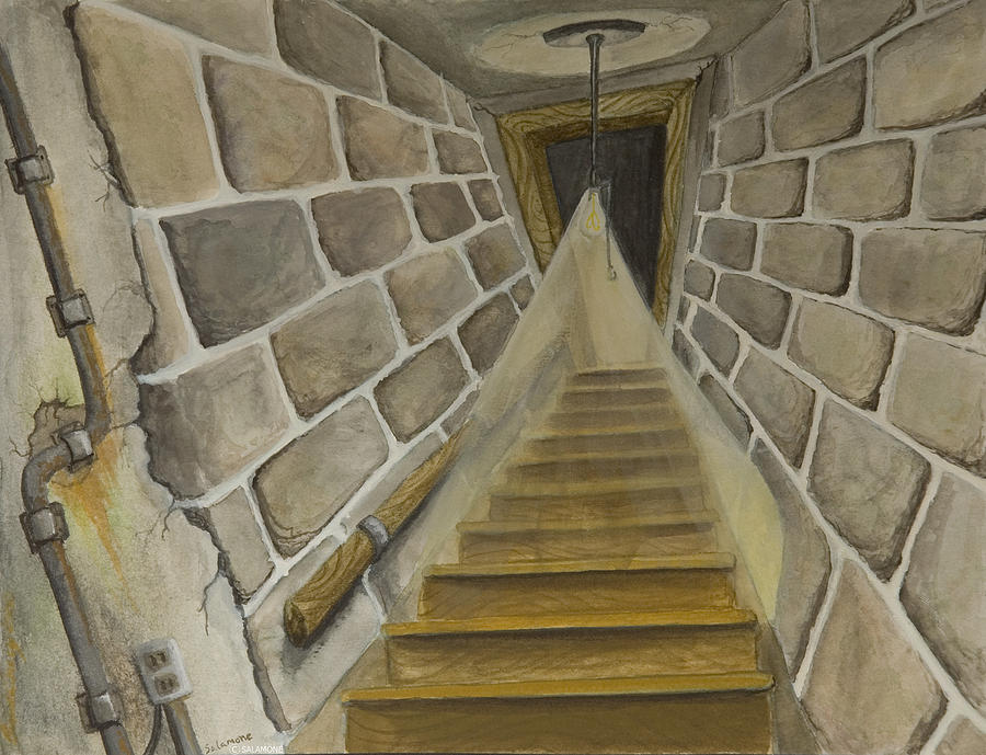 creepy basement stairs. Basement Stairs Painting By Brenda Salamone Creepy