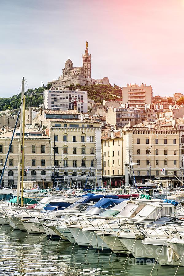 Notre-dame De La Garde Photograph - Basilique Notre-dame De La Garde From The Vieux Port Of Marseille by Pier Giorgio Mariani