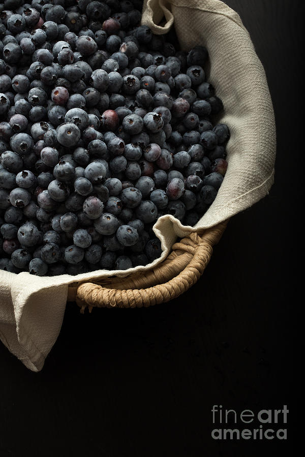 Superfood Photograph - Basket Full Fresh Picked Blueberries by Edward Fielding