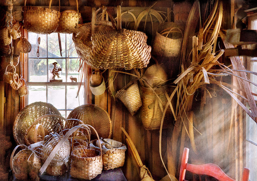 Savad Photograph - Basket Maker - I Like Weaving by Mike Savad