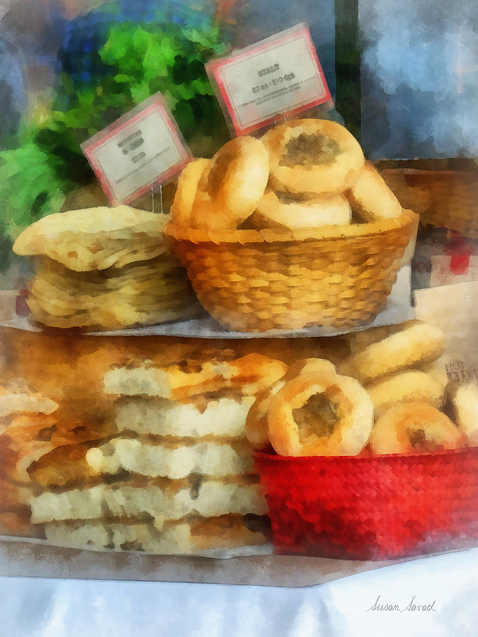 Bialy Photograph - Basket Of Bialys by Susan Savad