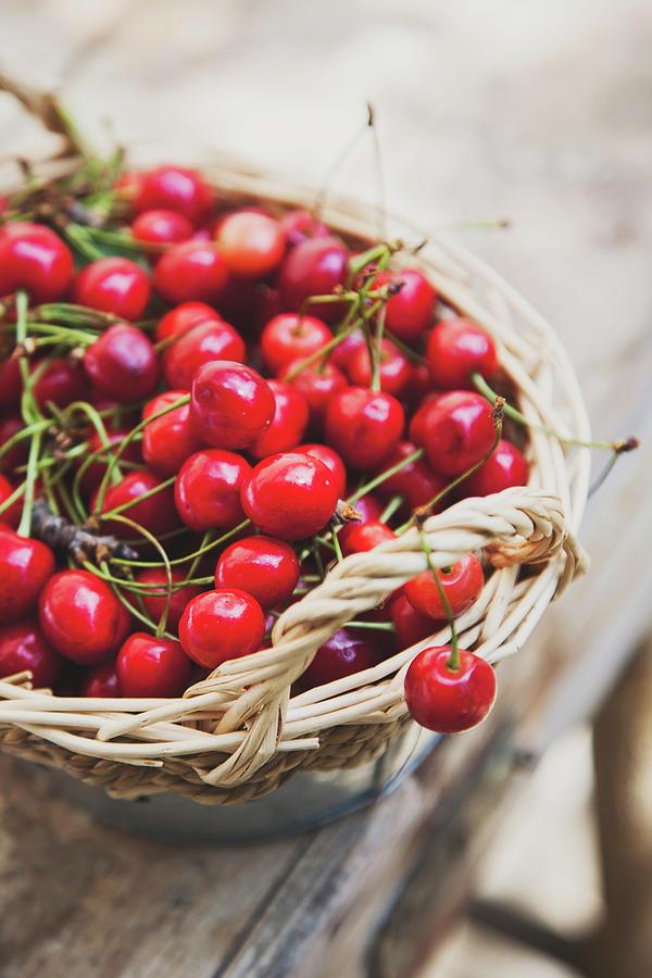 Basket Of Cherries Photograph by © Emoke Szabo