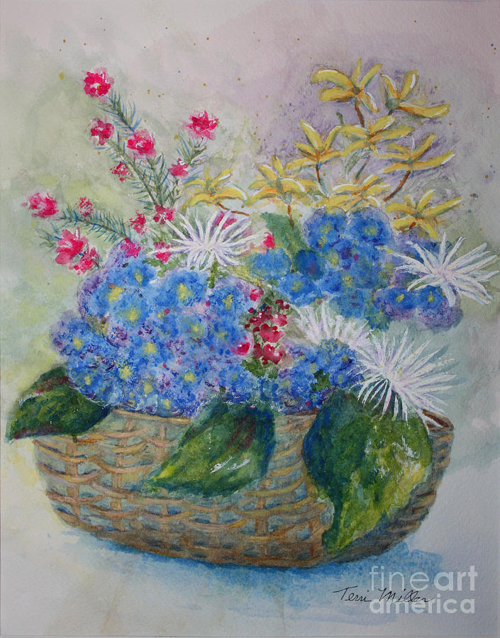 Basket Of Flowers Painting by Terri Maddin-Miller
