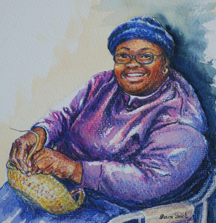 African Americans Painting - Basket Weaver In Blue Hat by Sharon Sorrels