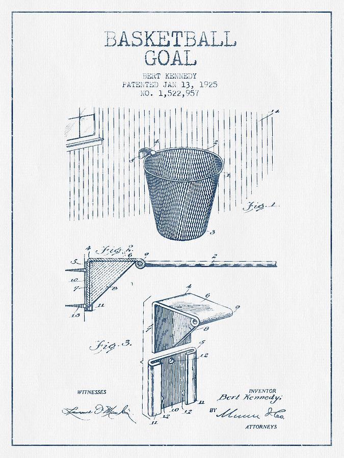 Basketball Goal Patent From 1925 - Blue Ink Digital Art