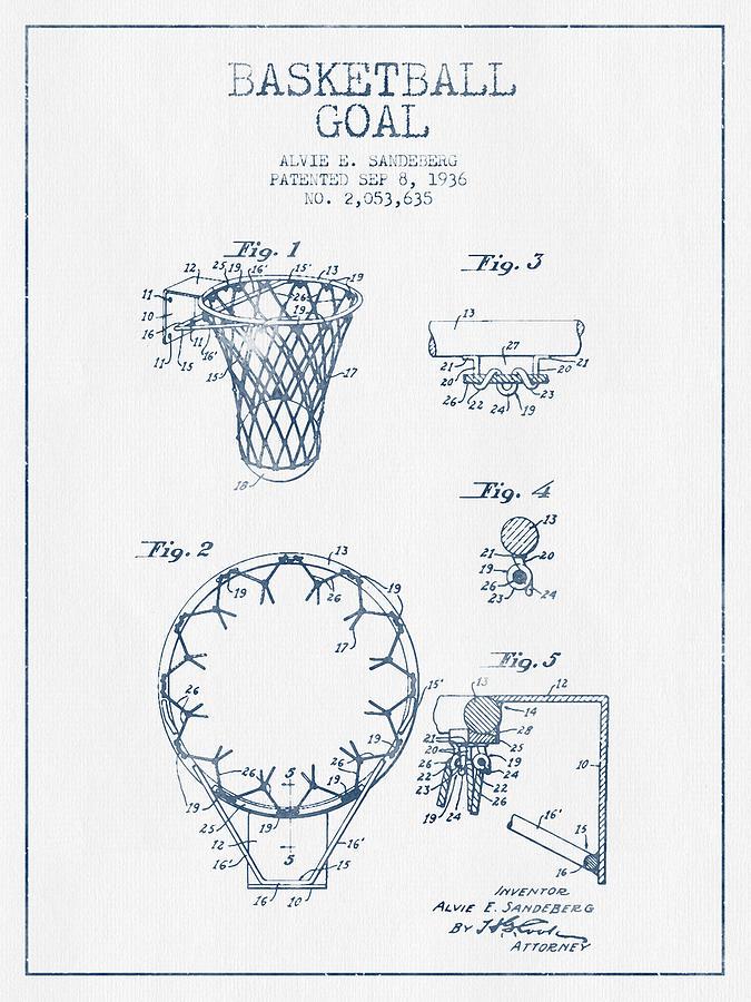 Basketball Goal Patent From 1936 - Blue Ink Digital Art