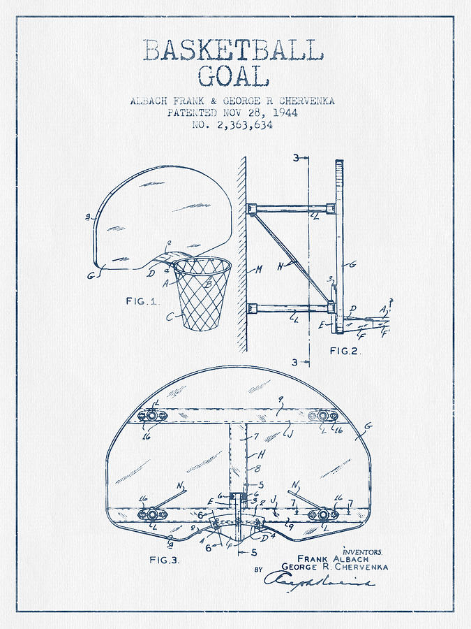 Basketball Goal Patent From 1944 - Blue Ink Digital Art