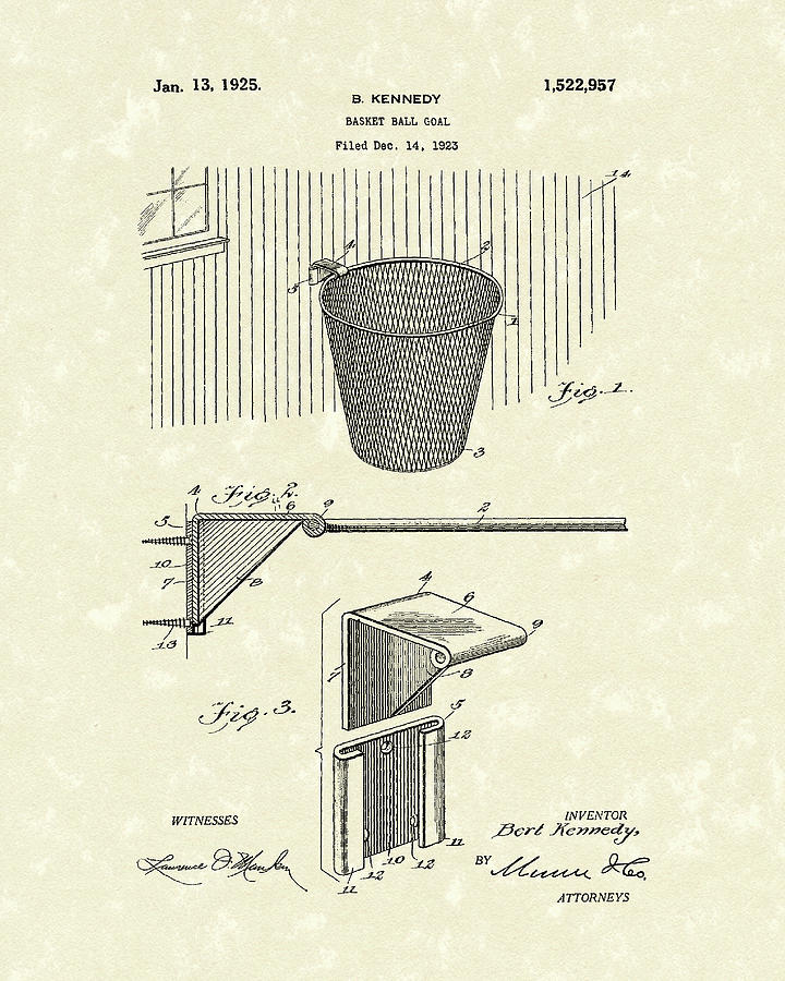 Kennedy Drawing - Basketball Hoop 1925 Patent Art by Prior Art Design