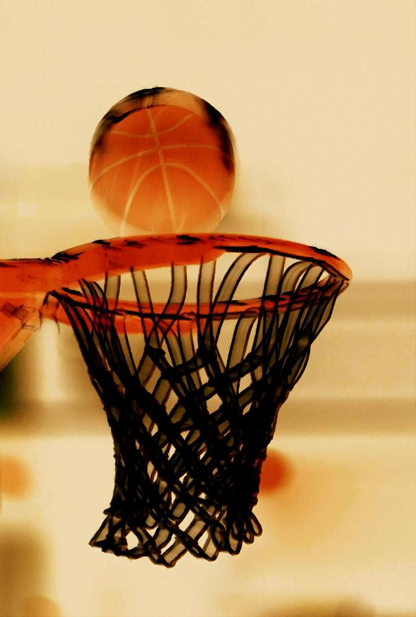 Hoop Painting - Basketball Hoop And Basketball Ball 1 by Lanjee Chee
