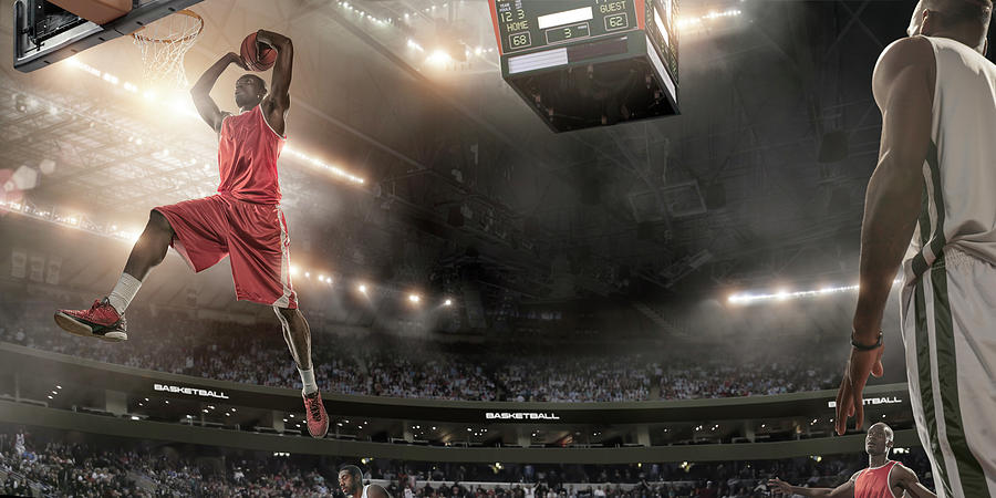 Basketball Player About To Slam Dunk Photograph by Peepo