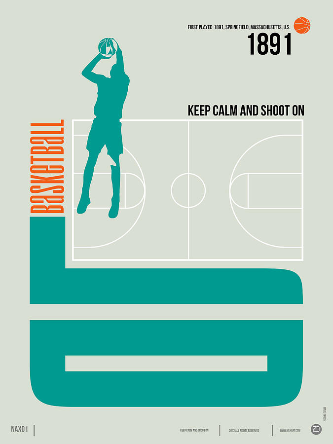 Motivational Digital Art - Basketball Poster by Naxart Studio