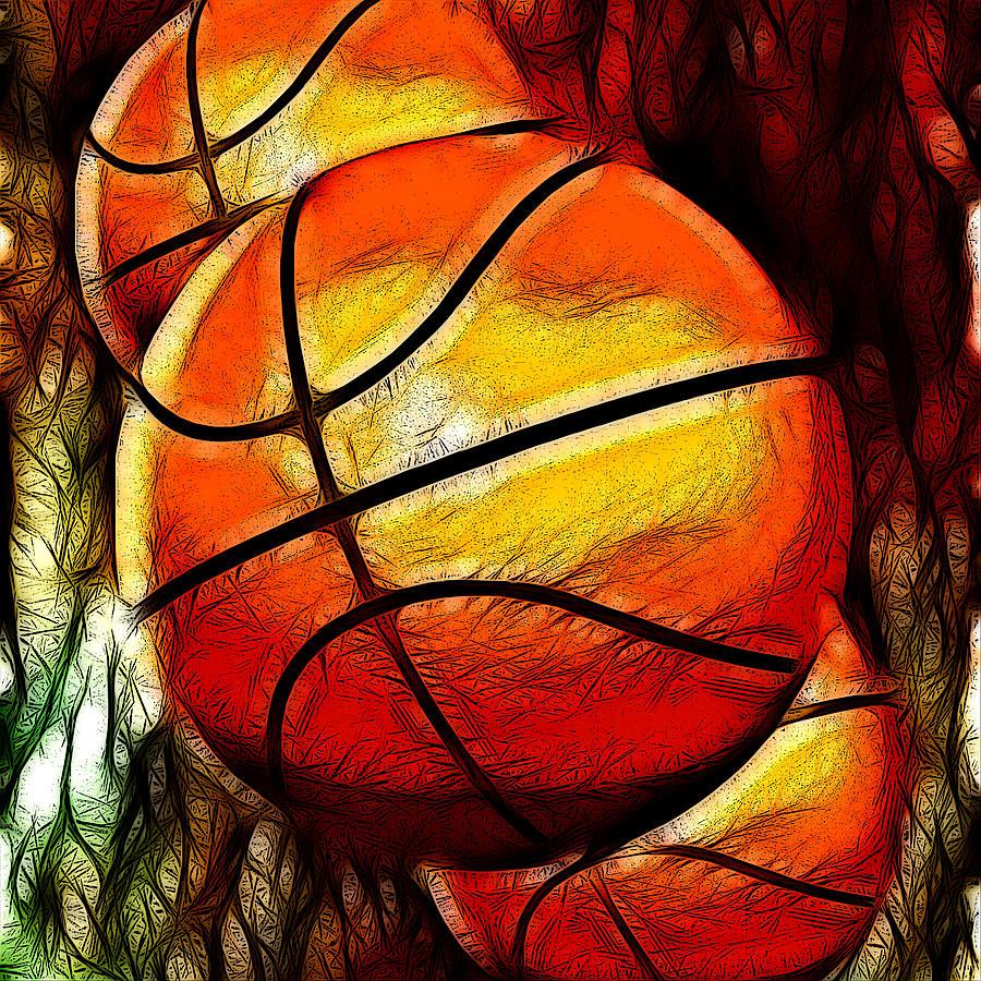 Basketballs Abstract Digital Art by David G Paul
