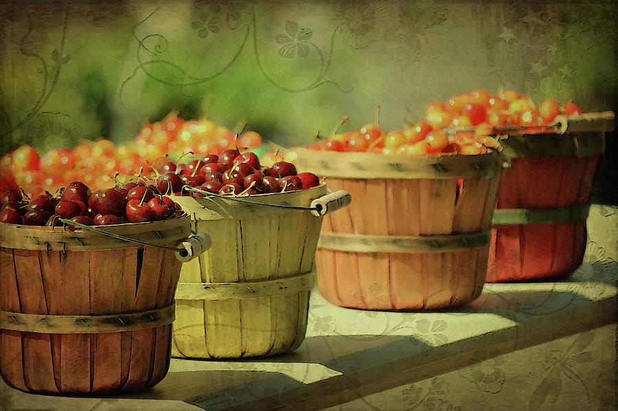 Baskets Of Summer Cherries Photograph by Cgander Photography