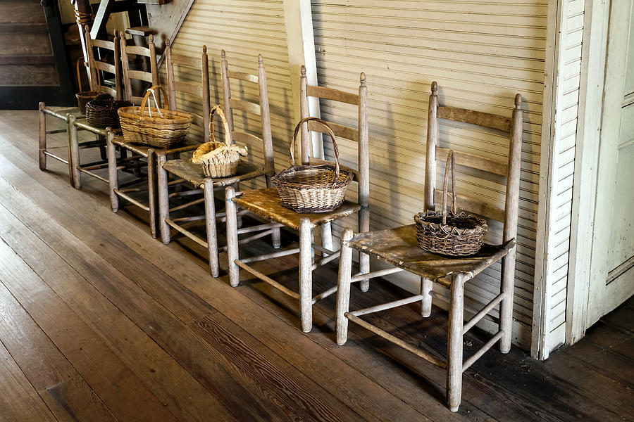 Baskets On Ladder Back Chairs Photograph - Baskets On Ladder Back Chairs by Lynn Palmer