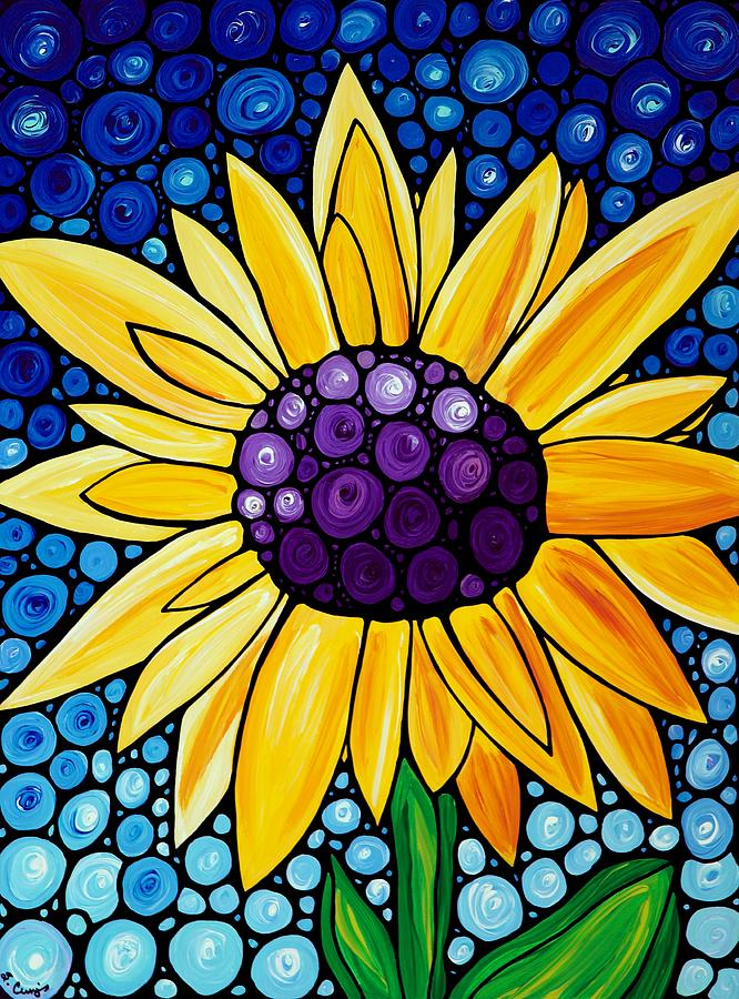 Sunflower Painting - Basking In The Glory by Sharon Cummings