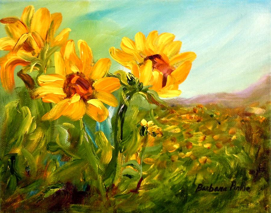 Sunflowers Painting - Basking In The Sun by Barbara Pirkle