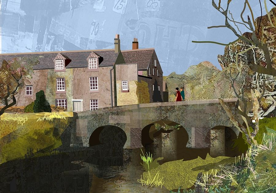 Landscape Digital Art - Baslow Bridge by Kenneth North