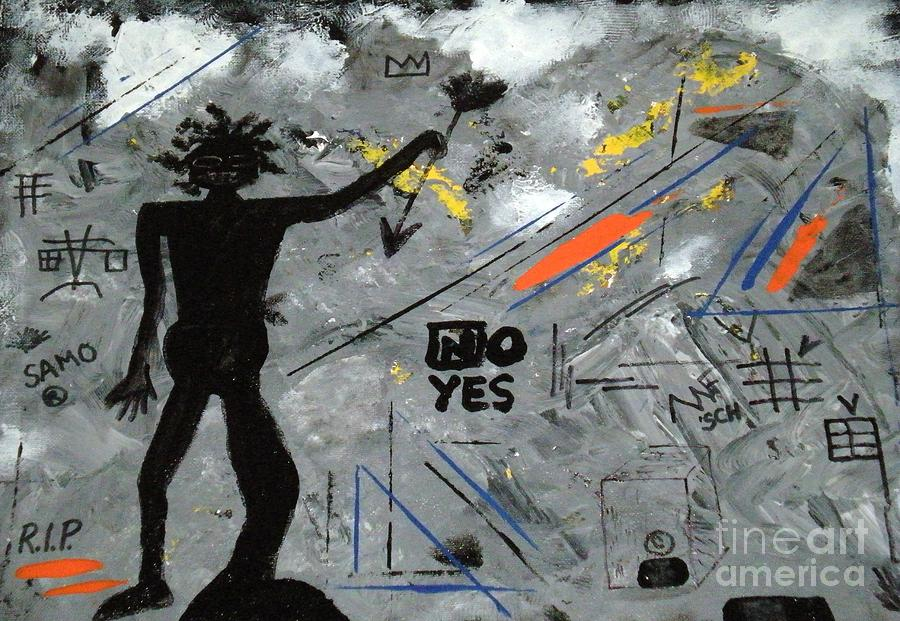Basquiat Tribute Mixed Media - Basquiat Rest In Peace - Tribute Number 7 by Scott Haley