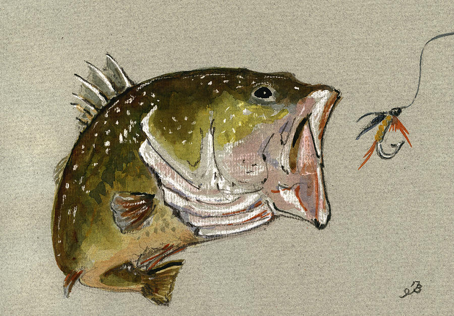 Bass Painting - Bass Fish Fly by Juan  Bosco