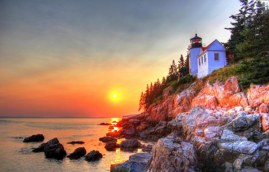 Light House Photograph - Bass Harbor Head light house at sunset II by Peggy Berger