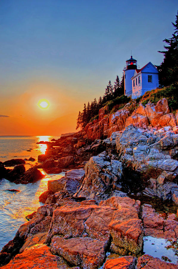 Light House Photograph - Bass Harbor Head light house at sunset by Peggy Berger