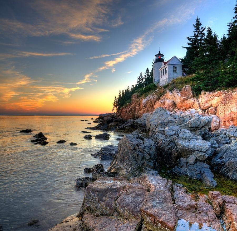 Deserted Island Beach: Bass Harbor Head Lighthouse Mount Desert Island Maine