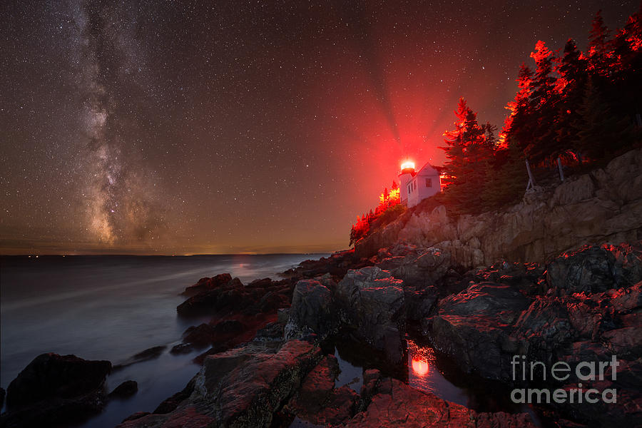 Bass Harbor Lighthouse Photograph - Bass Harbor Lighthouse Milky Way by Michael Ver Sprill