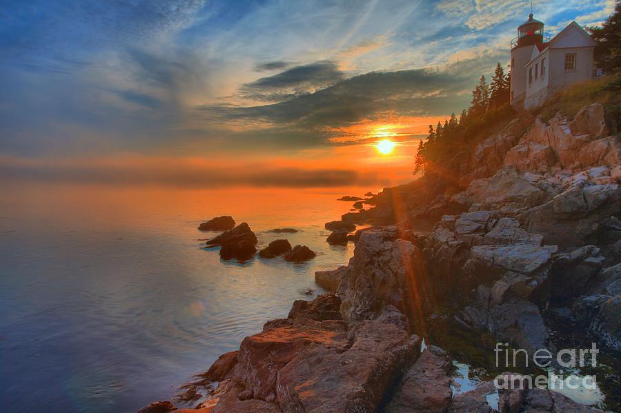 Bass Harbor Lighthouse Photograph - Bass Harbor Sunset by Adam Jewell